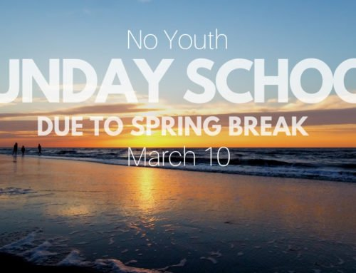 No Youth Sunday School 3/10/19
