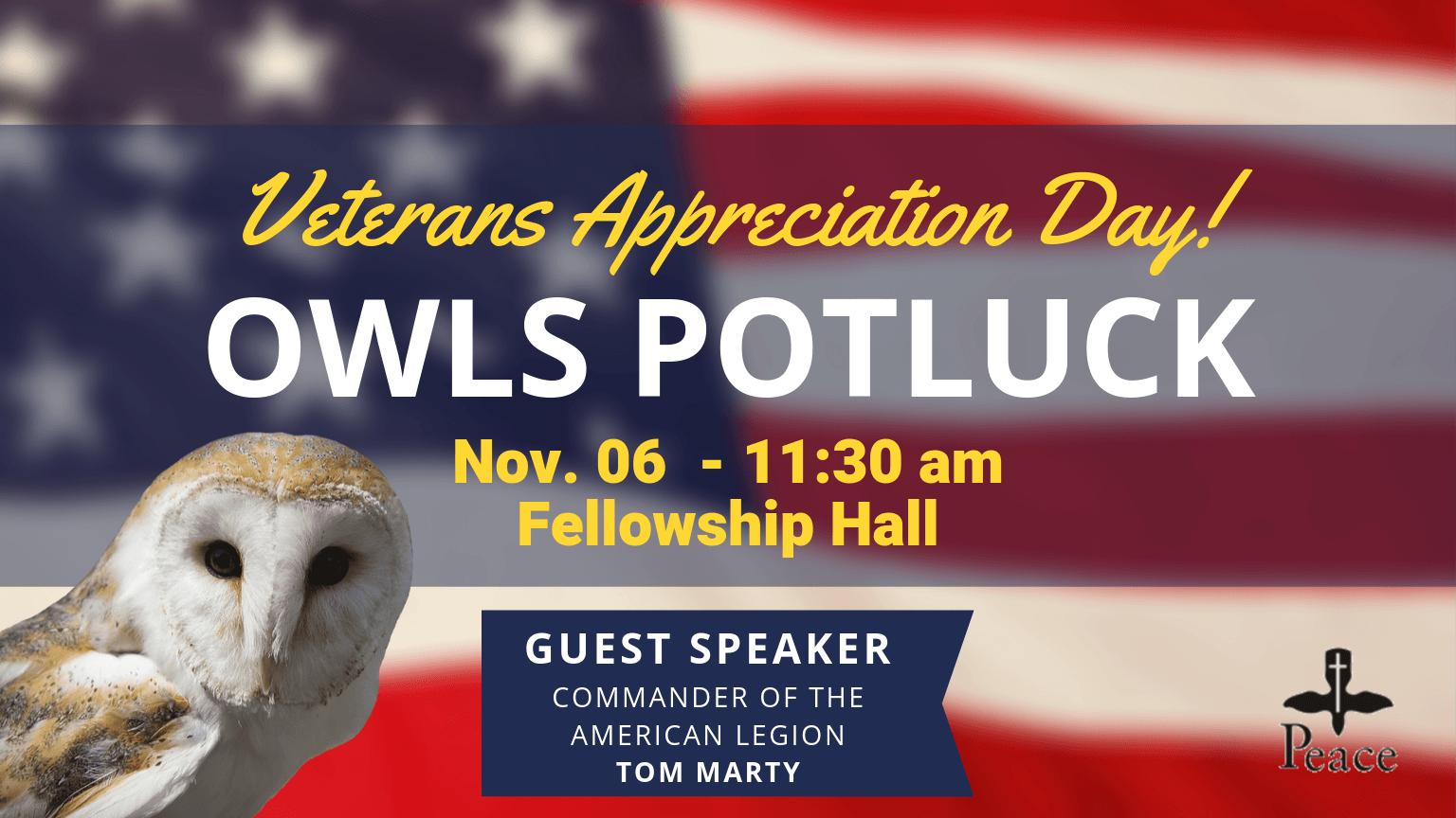 OWLs Potluck November 6 - 11:30am